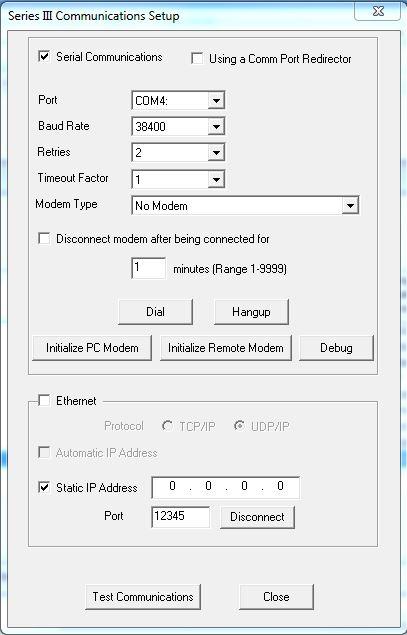 Blastware Communication Setup Menu