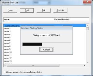Modem Dialing Status
