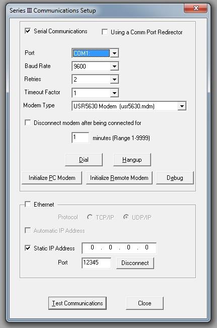 PC Series III Modem Communications Setup